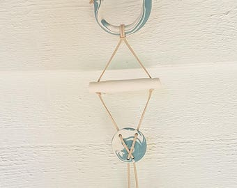 White & Teal Clay Wall Hanging