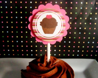 birthday cupcake toppers, custom cupcake birthday decorations, pink and brown birthday cupcake toppers, set of 12