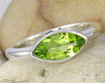 Green Peridot Silver Ring. Marquise Cut Peridot Solitaire Ring in 925 Sterling Silver.  Made to order in your ring size