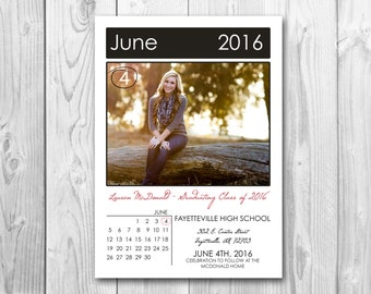 Graduation Announcement Save the Date Photo Picture Card // Digital or Printed (FREE SHIPPING!)