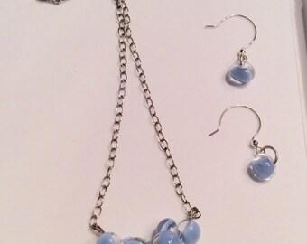 Tear Drop Blue Jean Lampwork  Neclace Earring Set Sterling Silver