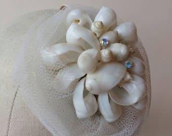 Hair band side tiara fascinator with sea shells, crystal diamante & netting ~ Beach Wedding ~ Bridal ~ Boho Indie Bride ~ Mermaid