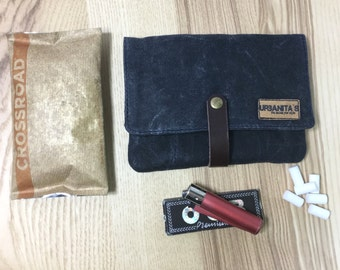 Rolling Navy tobacco case, tobacco pouch Waxed canvas, Waxed canvas