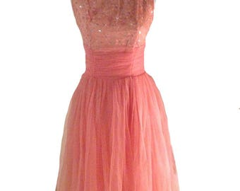 Lace and Chiffon 1950s Pink and Silver Party Dress