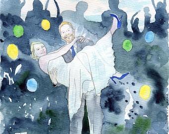 Wedding painting. Custom watercolour illustration. Watercolor couple portrait. Wedding anniversary gift. Custom anniversary gift.