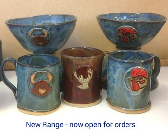 Hand built pottery bowl blue, red brown, PRE ORDER