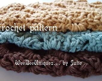 crochet pattern digital download elegant spa cotton wash cloth