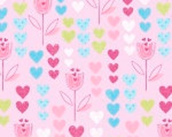 Flannel fabric by the yard - Tulip Garden