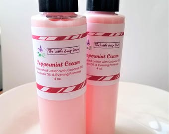 Peppermint Cream Lotion, Lotion for Winter, Holiday Lotion, Handmade Lotion, Christmas Lotion, Gifts under 10