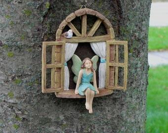 Fairy Garden Accessories Window with sitting fairy with blue dress - miniature garden accessory - window for tree stump