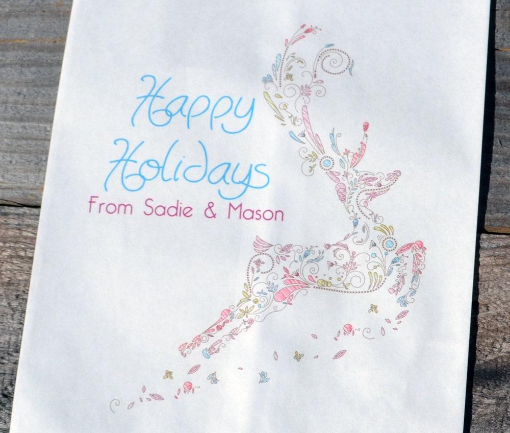 Elegant Deer Personalized Goodie Paper Bags Christmas Candy
