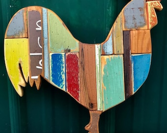 """Rooster Reclaimed Recycled Wood Art 14.5"""""""