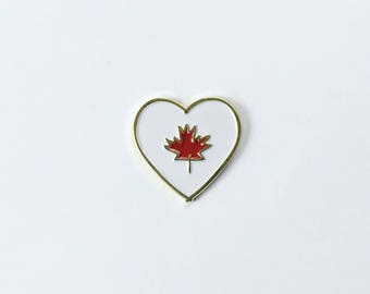 Canadian Flag Enamel Pin • Canada flag pin • Canada 150th Birthday • Canadiana • Lapel pin • Heart Canada Flag • Maple Leaf • Red and White