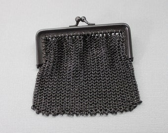 Tiny Antique French Gunmetal Mesh Chatelaine Coin Purse / FB France / Victorian Mourning