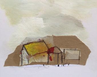 Fine art, Urban, Landscape, Roof, House, Original painting, Contemporary art, Litter #3