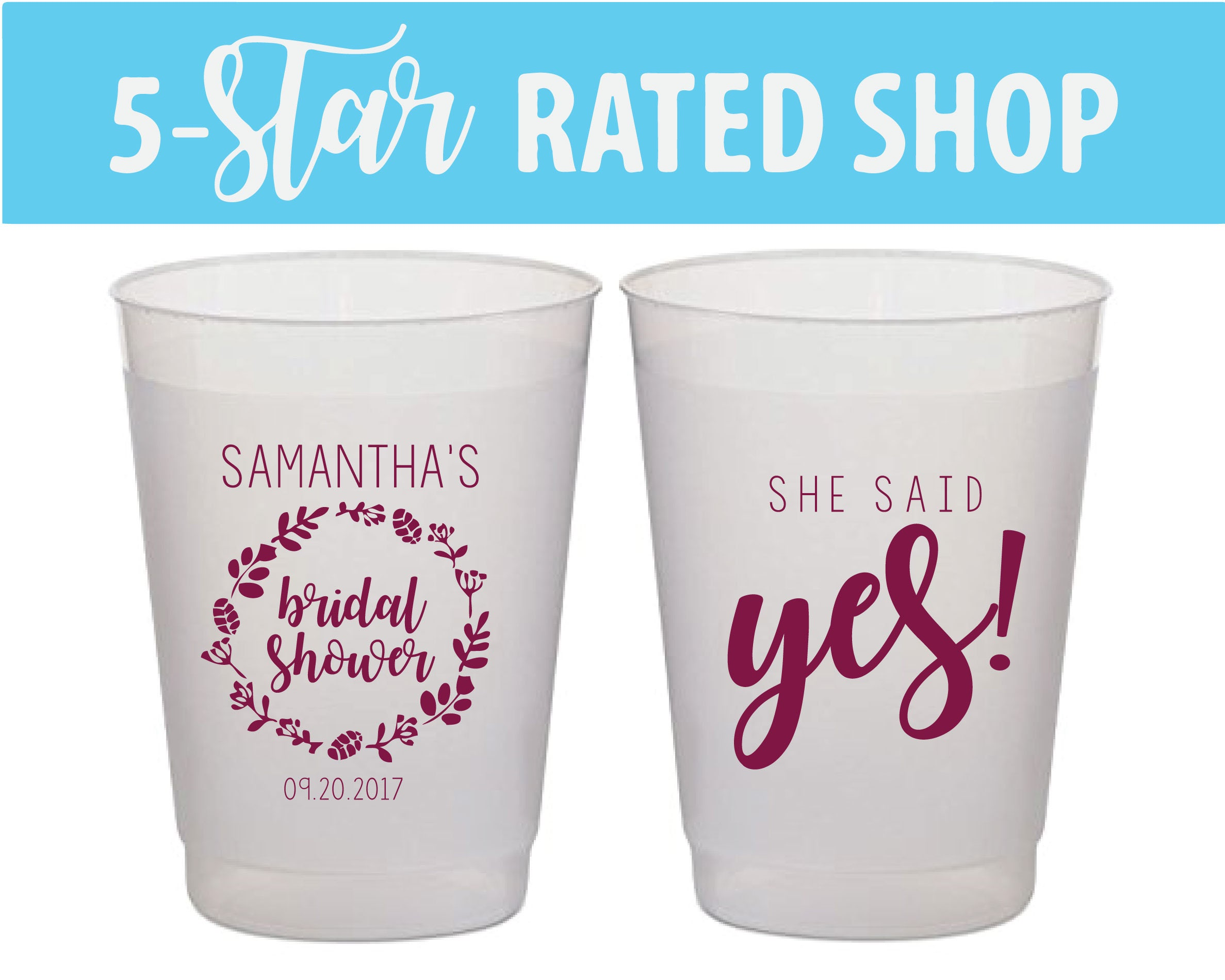 She Said Yes Bridal Shower Cups Bridal Shower Favors Bridal
