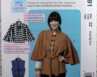 McCall's 7291, Misses' Capelets, Vest and Belt Sewing Pattern, Learn to Sew Pattern, Misses' Size L, XL, XXL, Pattern is Uncut