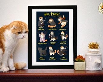 Pawtter poilu: Affiche de chat drôle Harry Potter