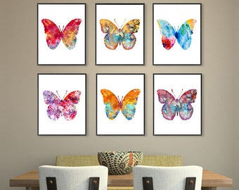 Watercolor butterfly art print set, butterflies painting, butterfly poster, insect art, colorful wall art, home decor, set of 6  - S23