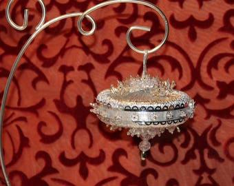 Vintage Christmas Ornament, Handmade Christmas Ornament, Silver Ornament,Beaded Ornament, Jeweled Ornament