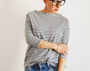 t shirt,organic tee,cotton,t shirt,striped t shirt,gray t shirt,women,boat neck t shirt,boat neck tees,organic fabric,jersey cotton