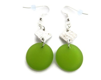 Green Sea Glass Earrings, Green Beach Glass Earrings, Lime Green Earrings, Recycled Glass Earrings, Long Green Dangles, Green Drop Earrings