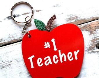 Apple Keychain - #1 Teacher - Acyrlic Apple Key Chain - Teacher's Appreciation Gift - Back to School Gift - End of School Gift