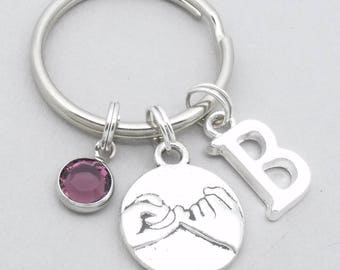 pinky swear keyring | pinky promise keychain | friendship keychain | personalised pinky swear / promise gift | monogram initial