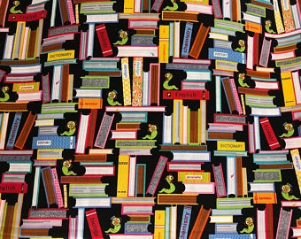 """I am a Bookworm by Fabric Traditions, By the Half Yard, 44"""" wide, 100% cotton, bookworm fabric, novelty fabric, teacher fabric,"""