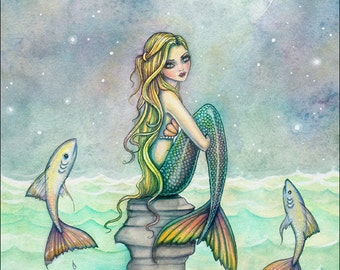 Peaceful Sea 9 x 12 Mermaid Fantasy Watercolor Fine Art Print by Molly Harrison