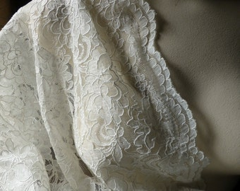 Ivory Alencon Lace Fat Quarter for Bridal, Mother of the Bride,  Clutches, Skirts, Costumes