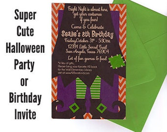 Qty. 25 Bright Halloween Party or Halloween Birthday Party Invitations with Colored Envelopes
