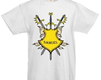 Personalisierte Namen tapferen Ritter Crest Held Charakter Kostüm Kinder T shirt
