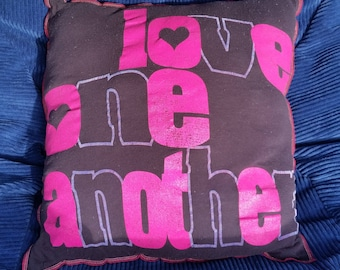 Love One Another-Upcycled Safe-Sex Pillow, w/ Condom & Lube Pockets, OOAK, black, pink, purple, care, golden rule
