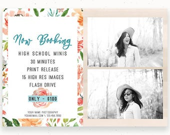 Summer Mini Sessions, Photography Marketing, Photo Templates, High School Minis, Marketing Board, Photoshop Template, Advertising c156