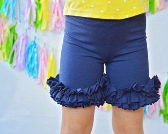 Girls Ruffle shorts in Navy