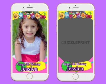 SHOPKINS GEOFILTER  Plus Family & Friends Message   Custom Personalized Snapchat Geofilter   Girl  Birthday Party   Shopkins Theme Party