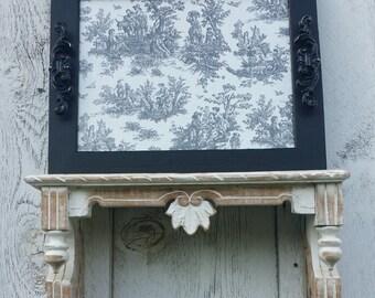 Black Distressed Ornate Tray...Black Handles...Black & Cream Toile