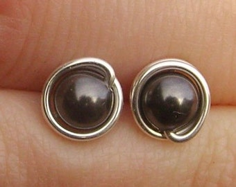 Small Black Pearl Stud Earrings (7mm), Swarovski Pearl Stud Earrings, Wire Wrapped Sterling Silver Stud Earrings, Small Black Stud Earrings