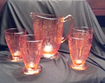 Jeannette Glass Company, Cherry Blossom Pitcher and 4 Tumblers