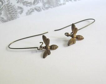Honig Biene Ohrringe baumeln lang Natur Woodlands Ohr Zubehör. Antik Messing Honig Biene Anhänger nickelfrei Ohrringe