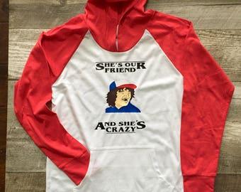 Stranger Things Dustin Boys unisex Girls Top Long Sleeve T Shirt Red White Hoodie Raglan Dustin TV show quotes tshirt TSLM