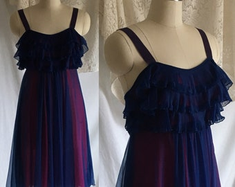Vintage 1960's Nightgown   Blue Chiffon & Pink Nylon with Satin Straps   Pleated Ruffles   Chevette   Size M