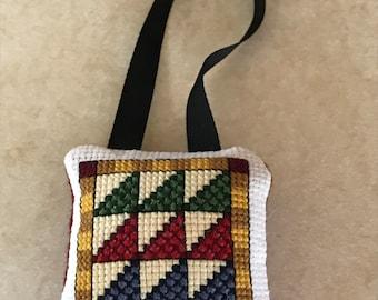 David's Harp quilt block ornament
