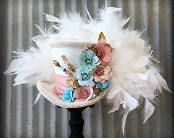 STeampunk Bride Mini Top Hat, Ivory and Off White Flower Hat, Blush and Mint, Alice in Wonderland Hat, Mad Hatter Hat, Steampunk Tea Party