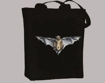 Vintage Bat 1500s Illustration Black or Natural Canvas Tote  -- Selection of sizes available
