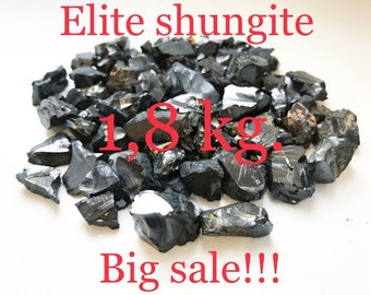 Elite Shungite 1,8 kg., 4-20mm. each stones, EMF protection purification water gemstones collection