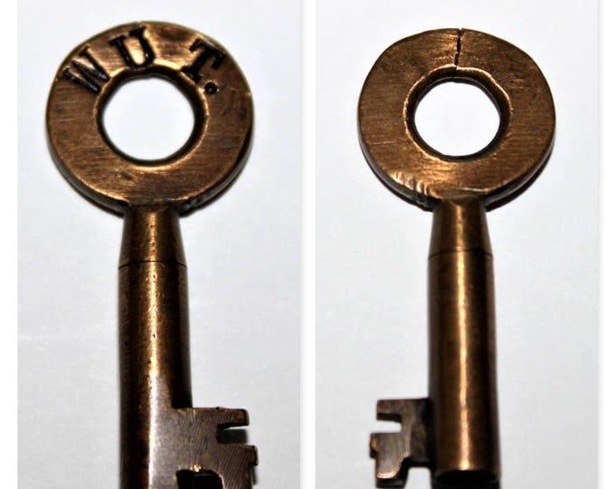 Antique Brass Hollow Barrel Key, Railroad Key WUT, Wichita Union Terminal, Western Union Telegraph