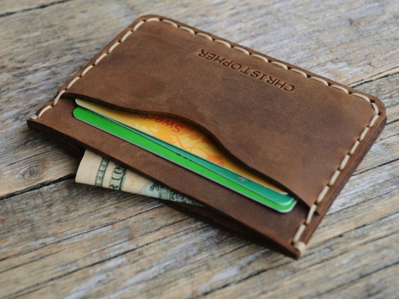 Brown Leather Wallet. PERSONALIZED Credit Card Cash and Banknote Holder. Rustic Style Pouch.