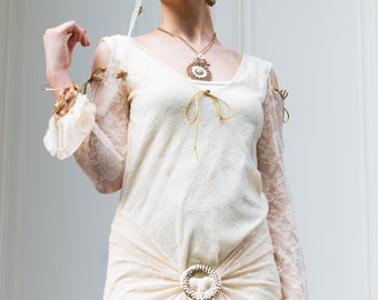 Victorian Tunica, Glamorous Off White top to last .